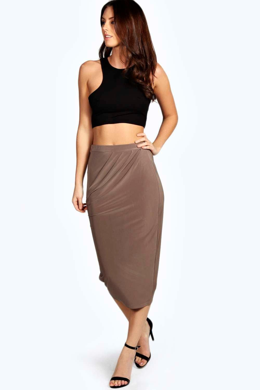Freya Draped Slinky Midi Skirt