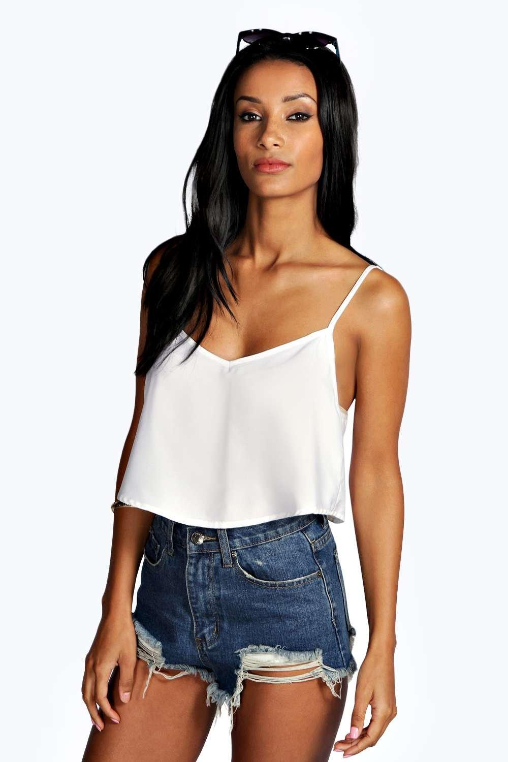 Woven Crop Swing Cami ivory