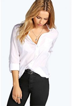 Felicity White Cotton Button Through Shirt