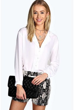 Robyn Open Placket White Shirt