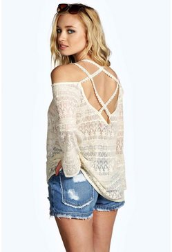 Leila Cross Back Lace Oversized Woven Top