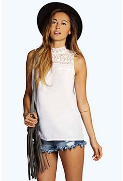 Laila Lace High Neck Woven Top