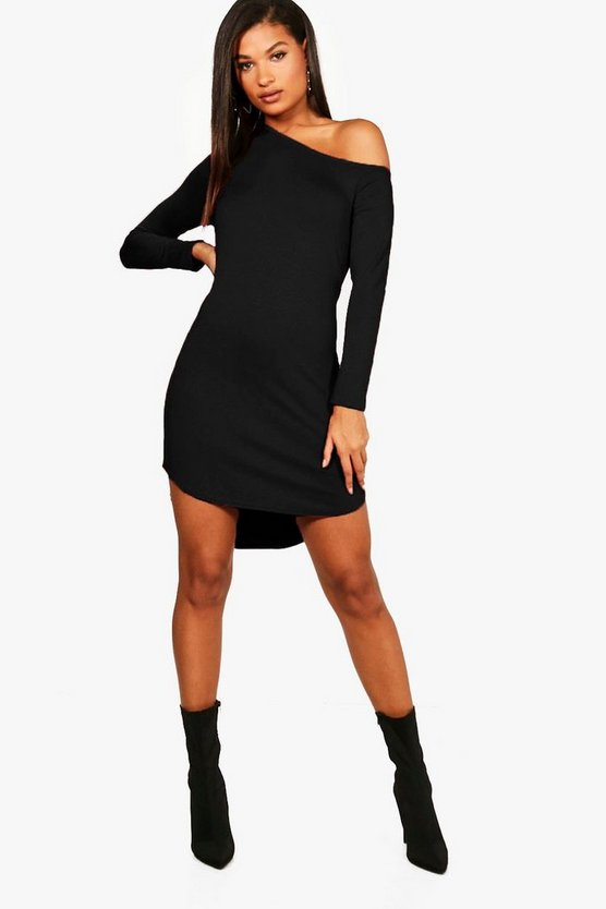 off The Shoulder Dip Hem Dress