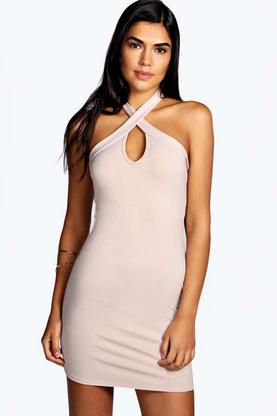 Maya Crossover Detail Keyhole Bodycon Dress