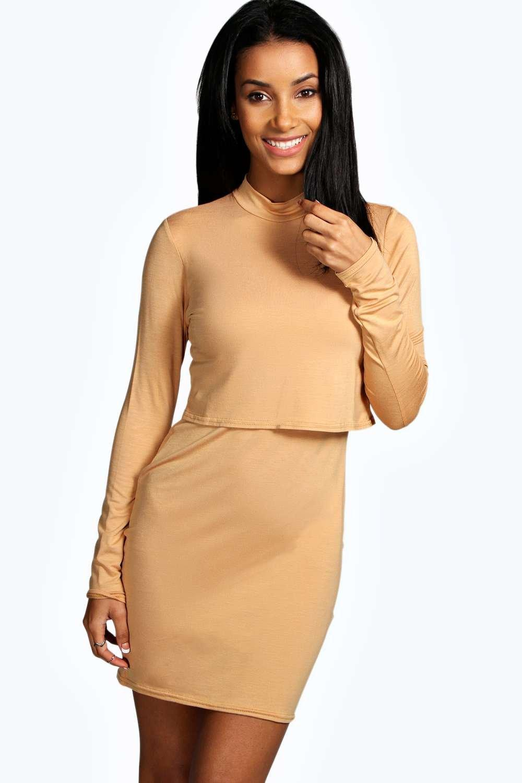 High Neck Long Sleeve Bodycon Dress camel