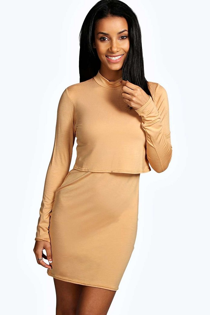 Mila High Neck Long Sleeve Bodycon Dress