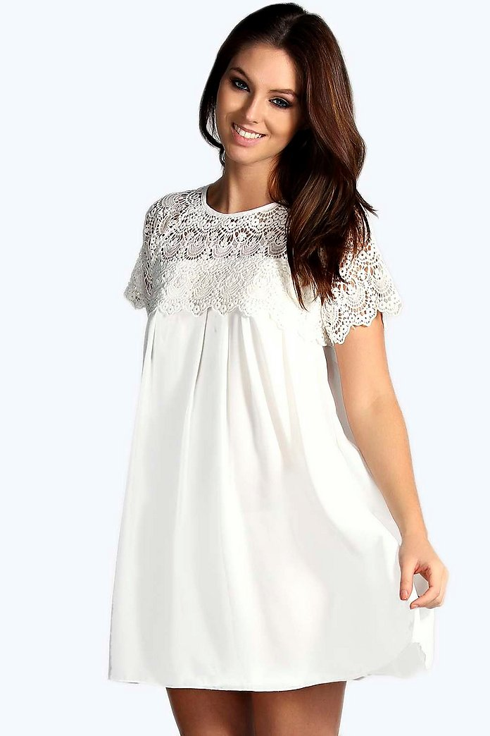 Erin Woven Crochet Lace Shoulder Swing Dress