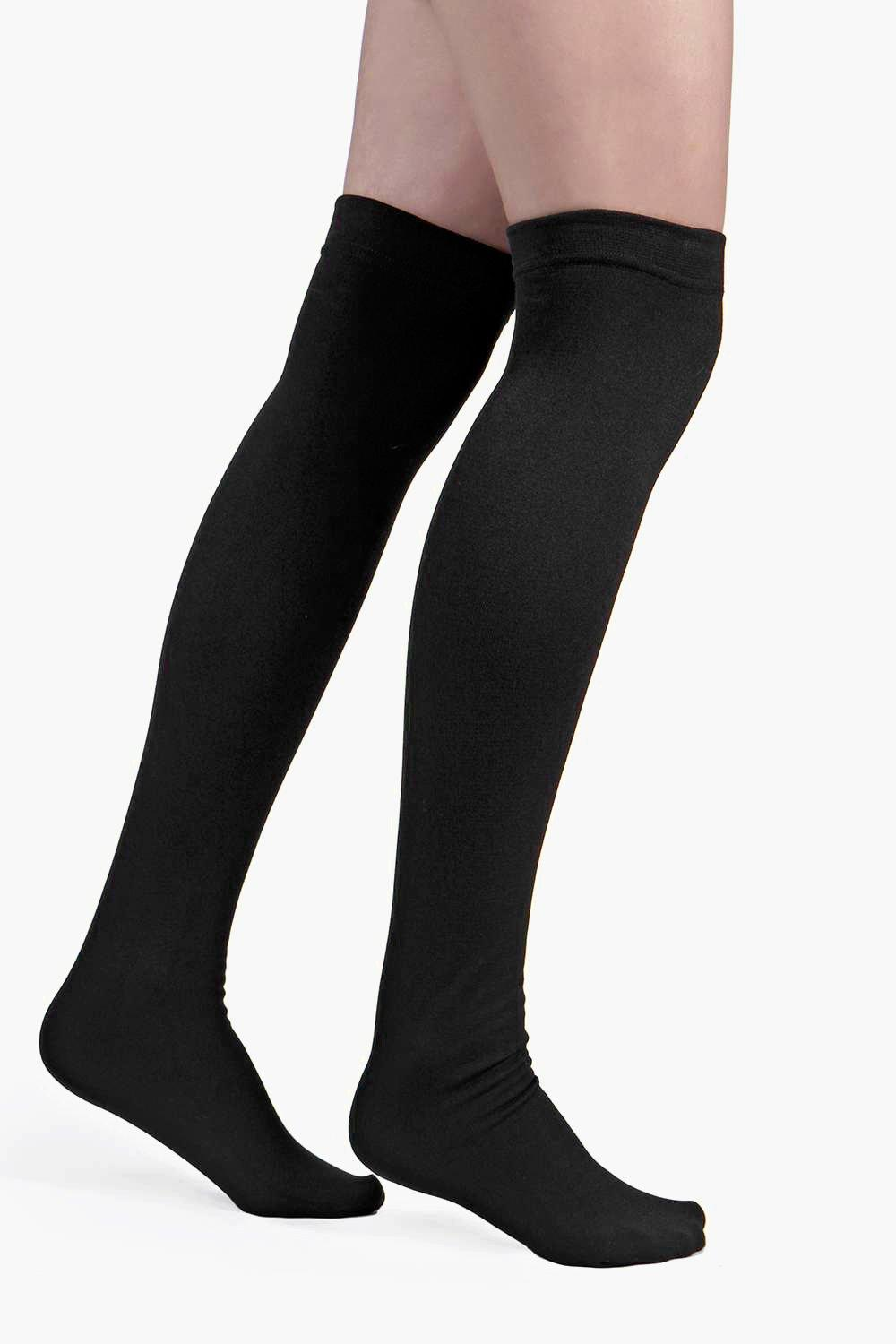 Thermal Thigh High Socks black