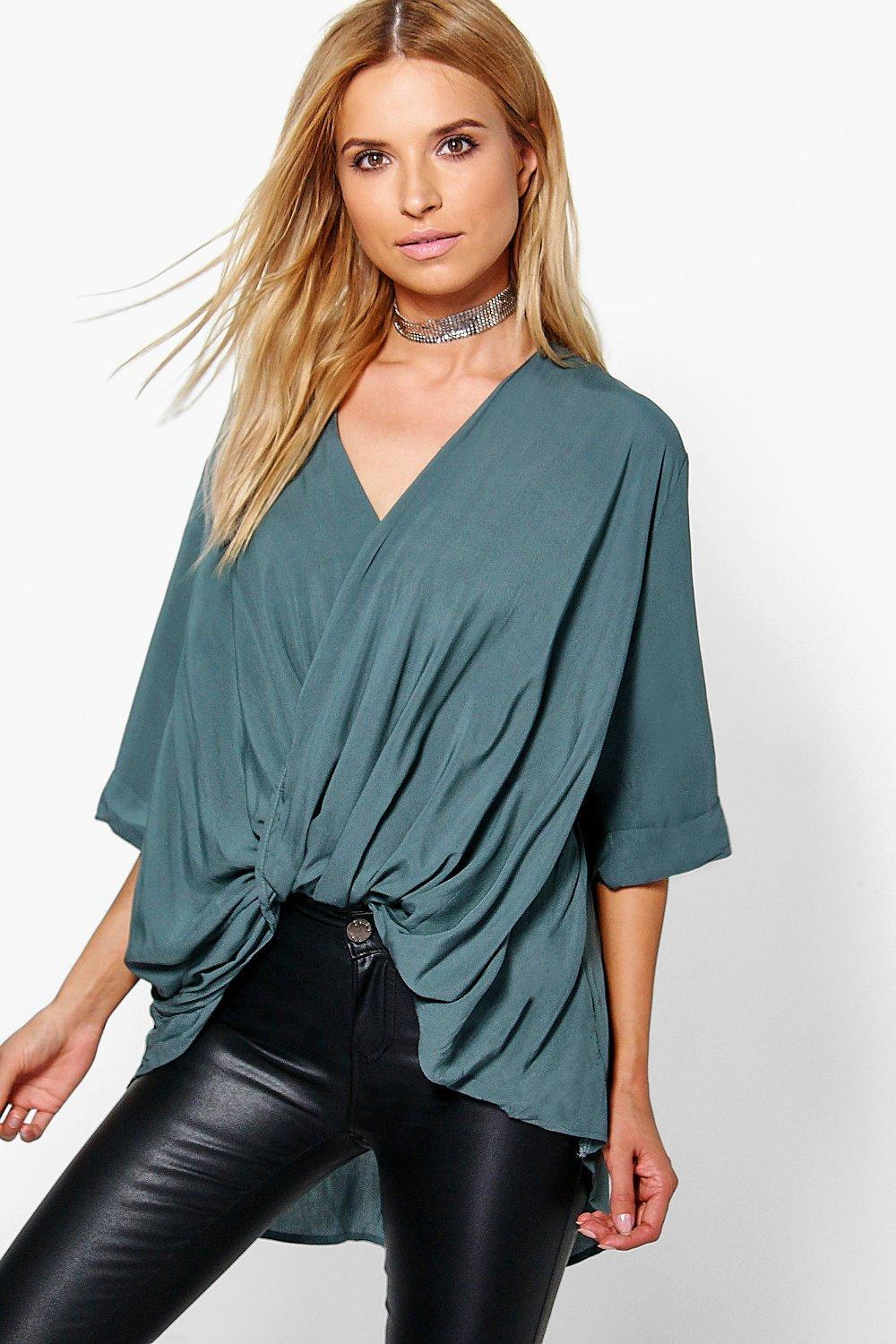 Edie Wrap Front 3/4 Sleeve Blouse