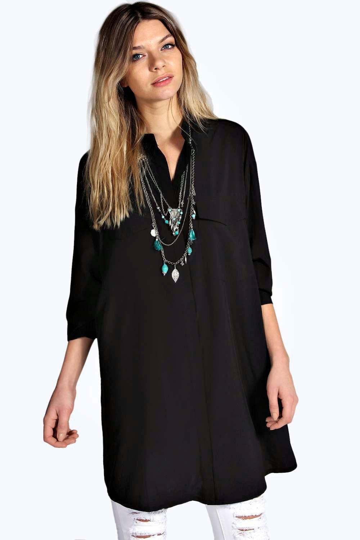Boohoo Womens Alyssa Longline Grandad Collar Boyfriend Shirt