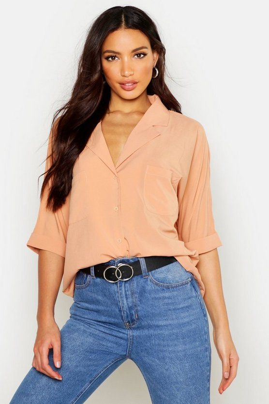 Revere Collar Oversized Shirt