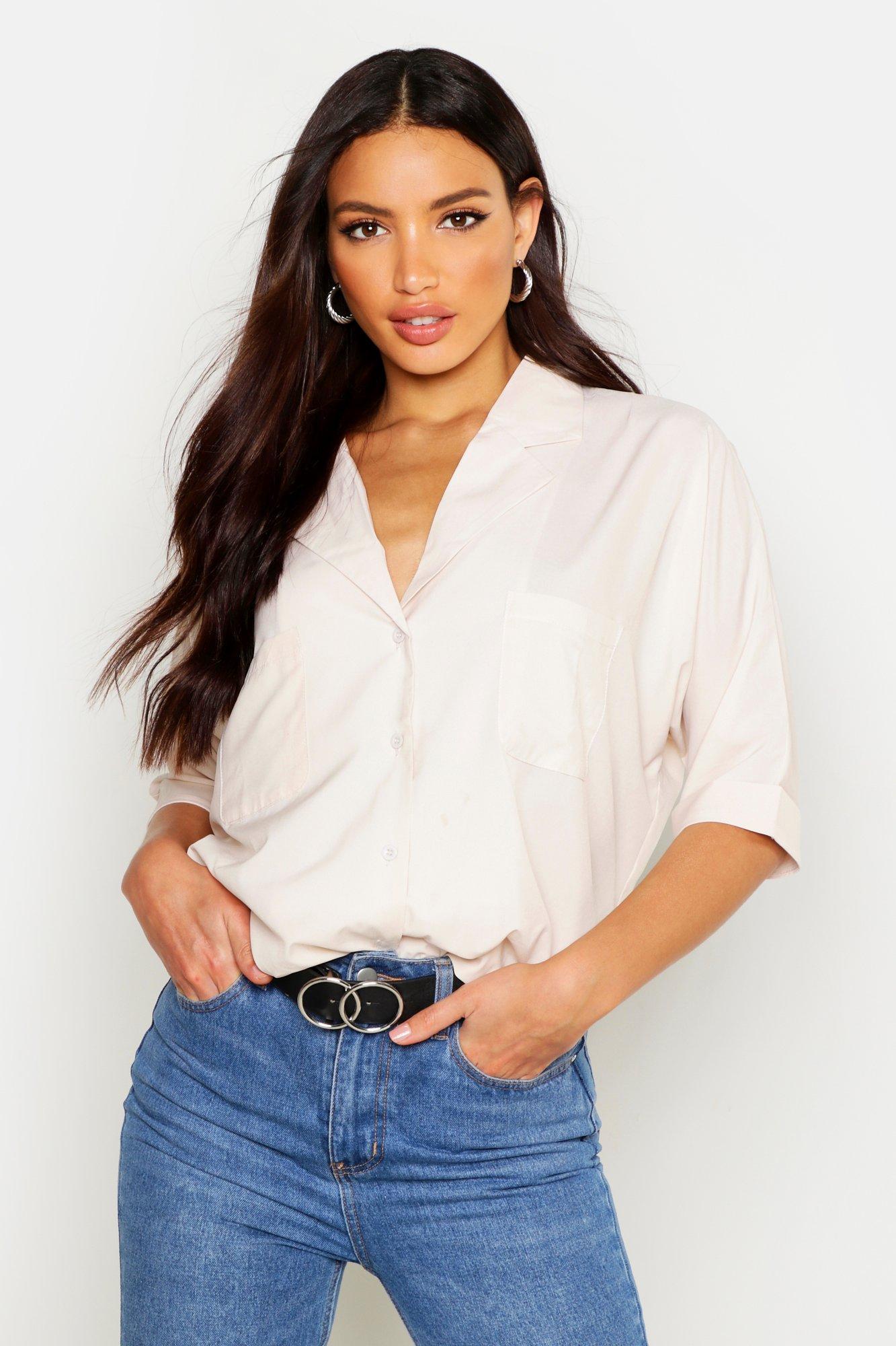 Womens Oversize-Hemd mit Revers-Kragen - ecru - 38, Ecru - Boohoo.com