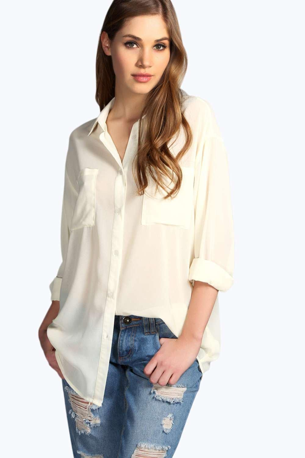 Chelsea Long Sleeve Oversized Chiffon Shirt