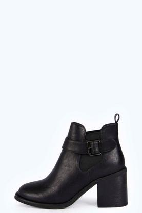 Maisie Block Heel Buckle Trim Ankle Boot