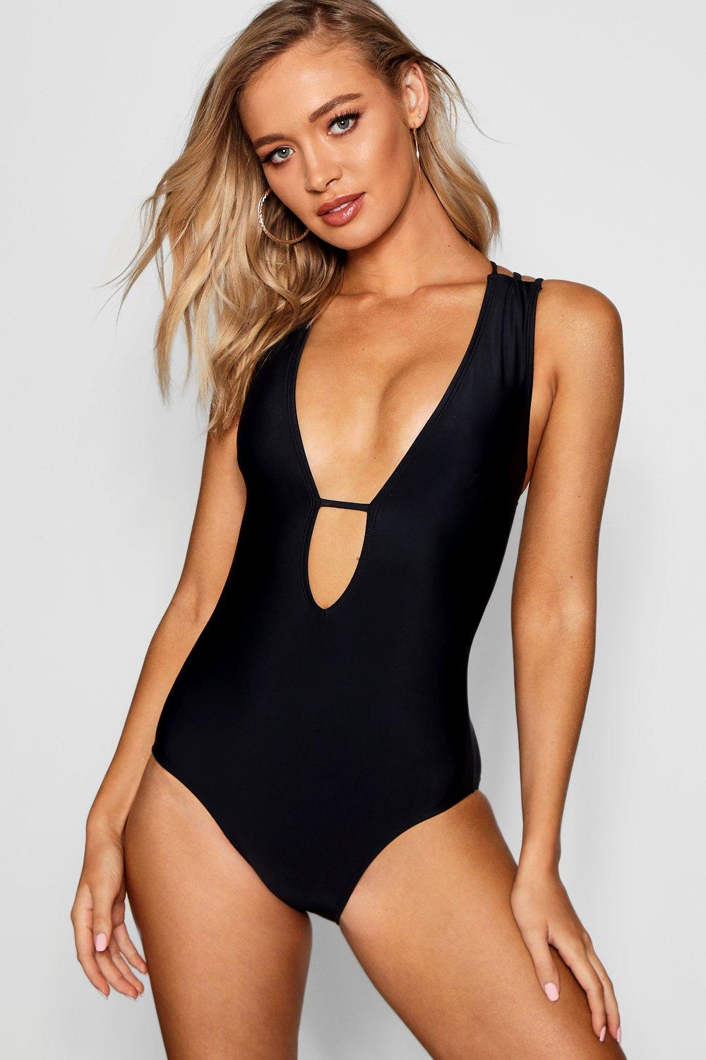 Nevada Plunge Front Cross Strap Back Swimsuit