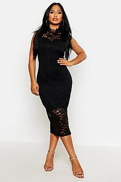 Boutique Clare Lace High Neck Bodycon Midi Dress
