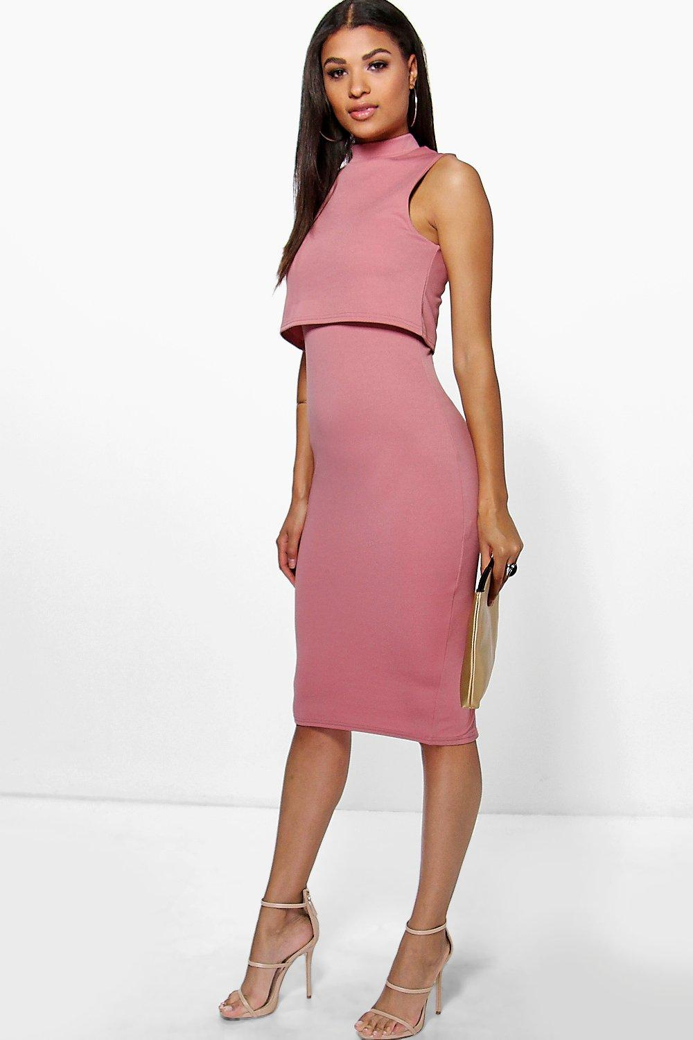 Leah High Neck Double Layer Midi Dress
