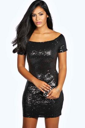 Imogen Off The Shoulder Sequin Bodycon Mini Dress