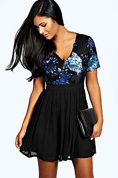 Catherine Sequin Top Skater Dress