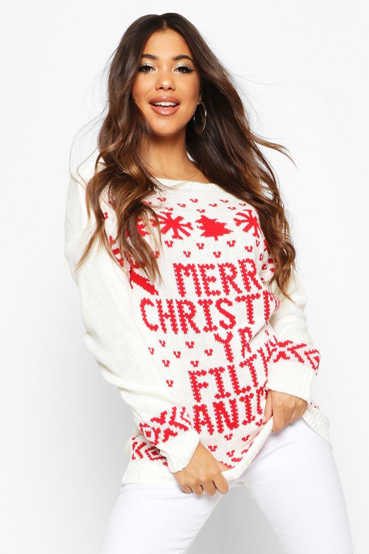 """Womens Weihnachtspullover mit U-Boot-Ausschnitt und """"Filthy Animal""""-Slogan - Creme - s/m, Creme - Boohoo.com"""