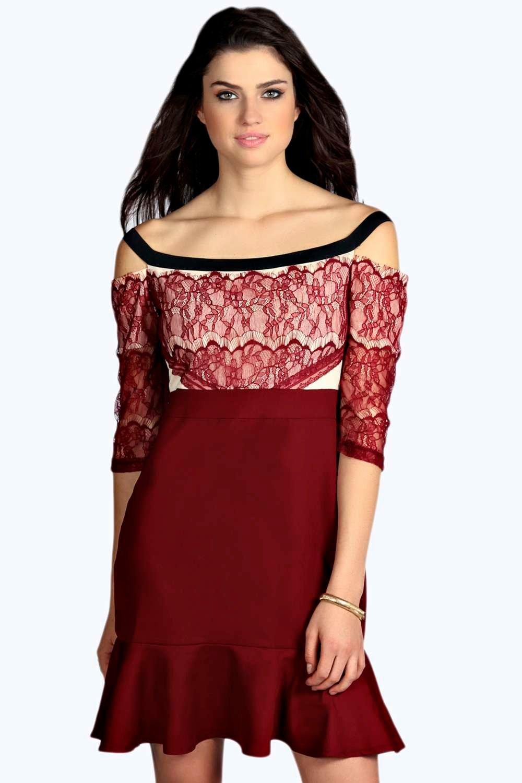 Eyelash Lace Off The Shoulder Dress wine