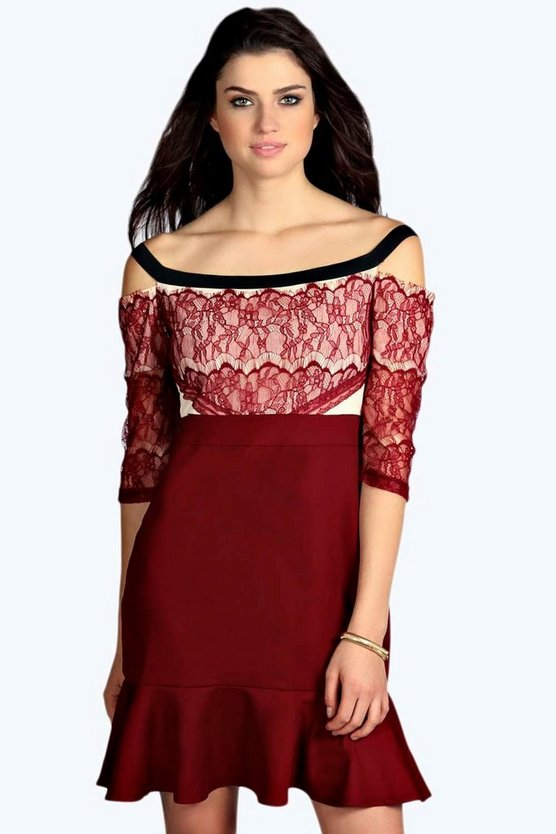 Kellis Eyelash Lace Off The Shoulder Dress