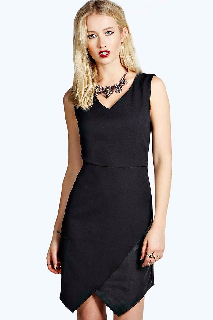 Claire PU Asymetric Bodycon Dress