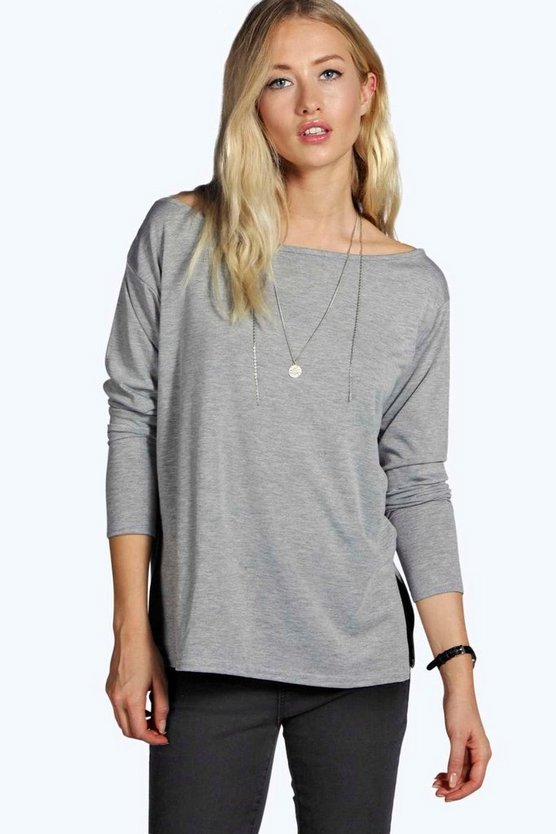 Dion Long Sleeve Oversized Slash Neck Tee