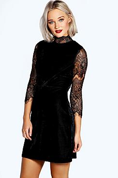 Riona High Neck Lace and Velvet Bodycon Dress