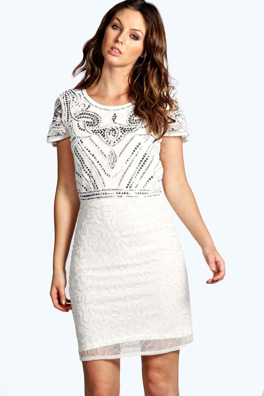 Boutique Evelyn Hand Beaded Shift Dress