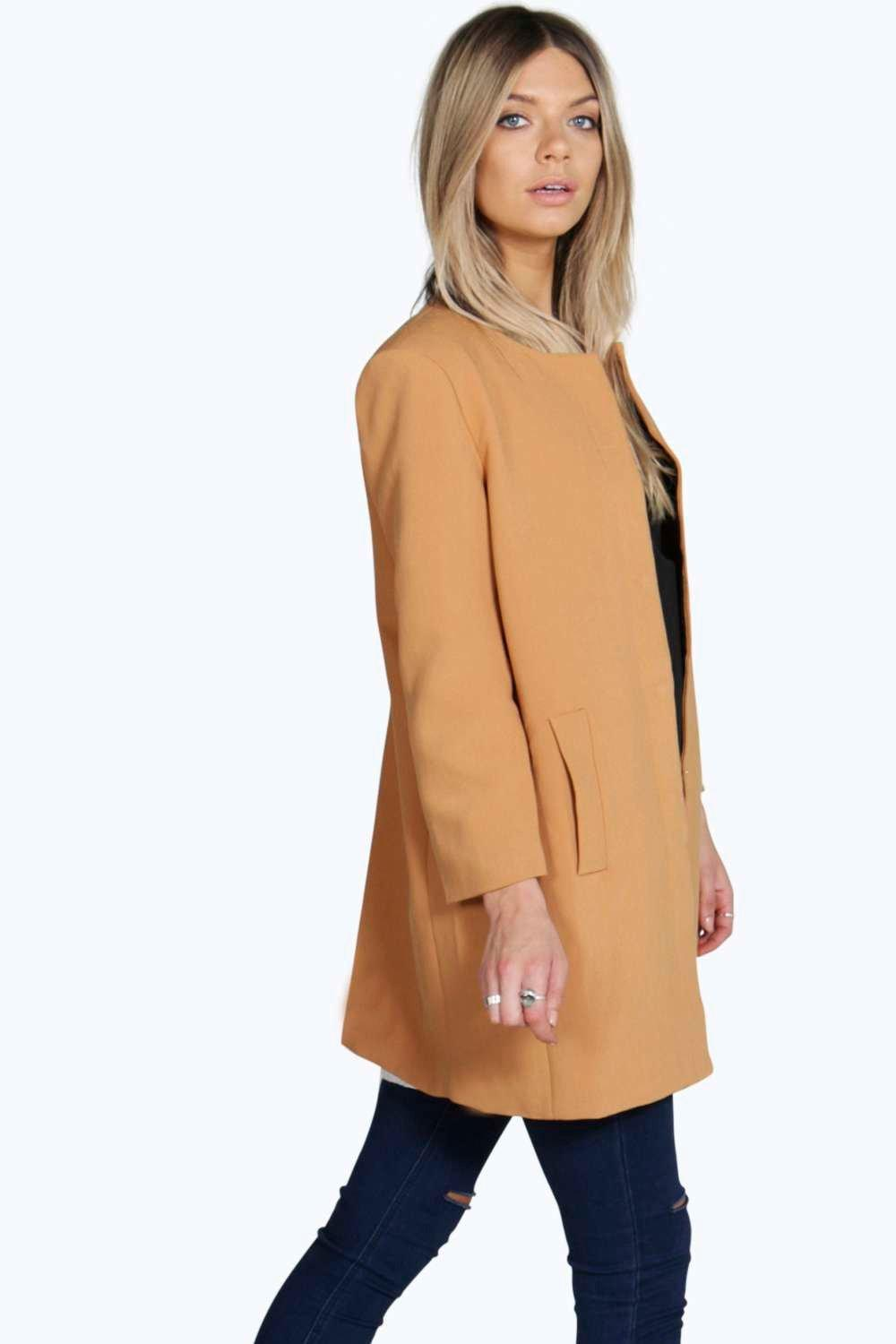 Collarless Button Duster Coat camel