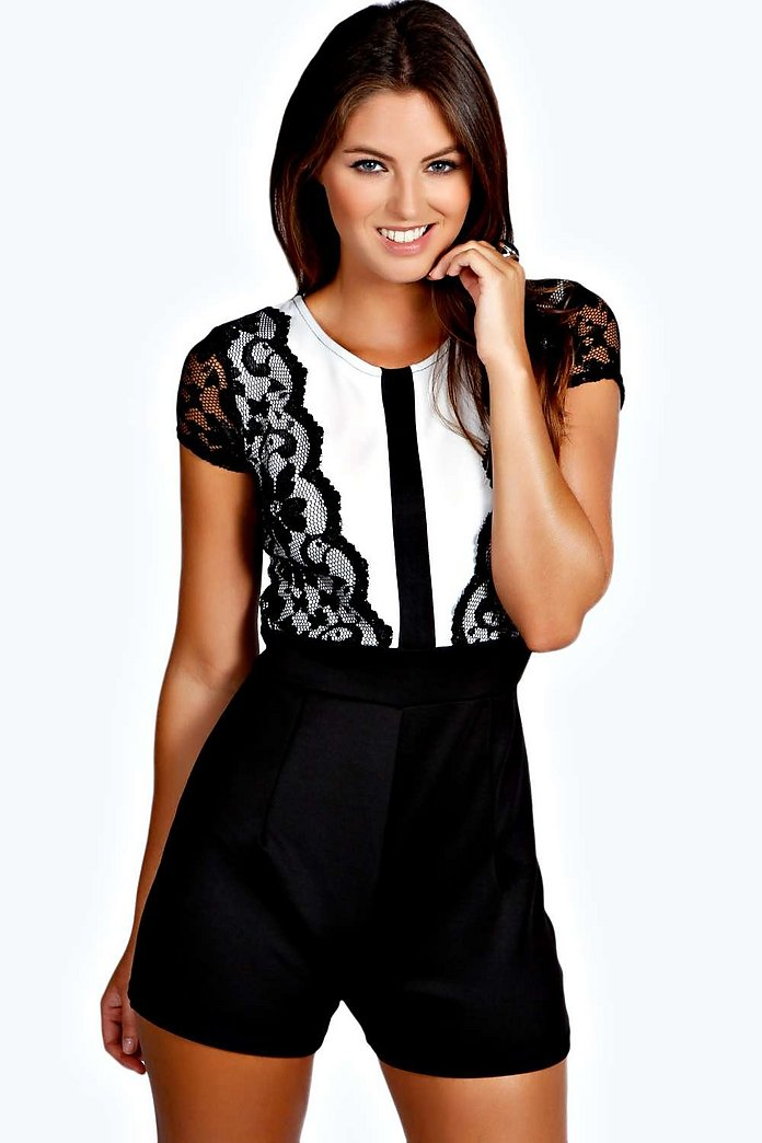 Kelly Half Sleeve Contrast Lace Playsuit