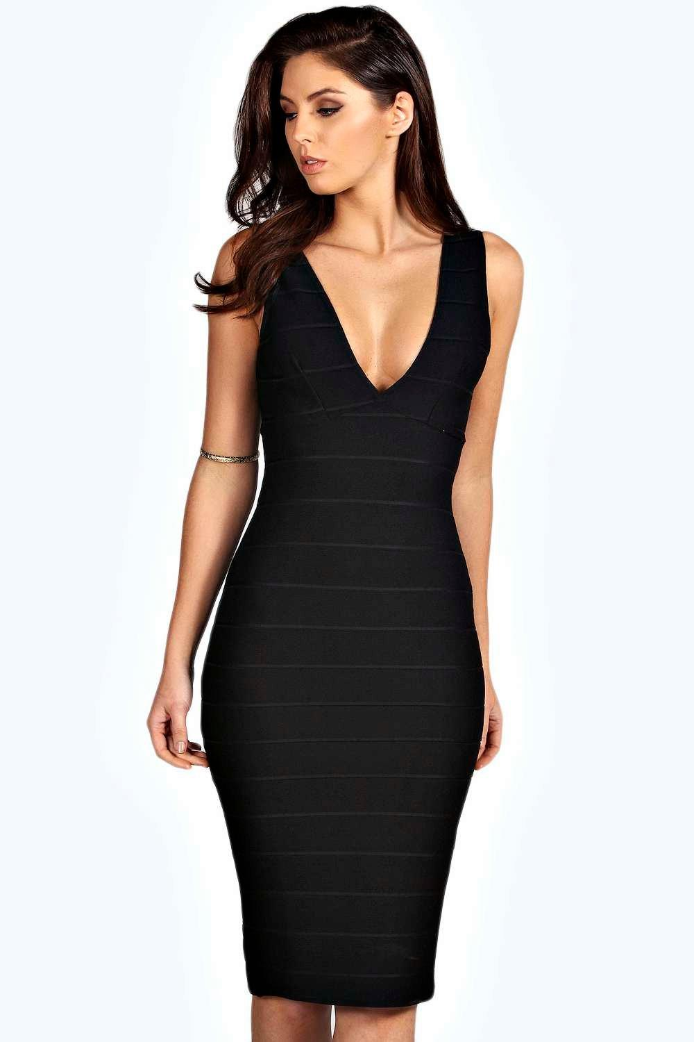 Evie Bandage Plunge Midi Dress