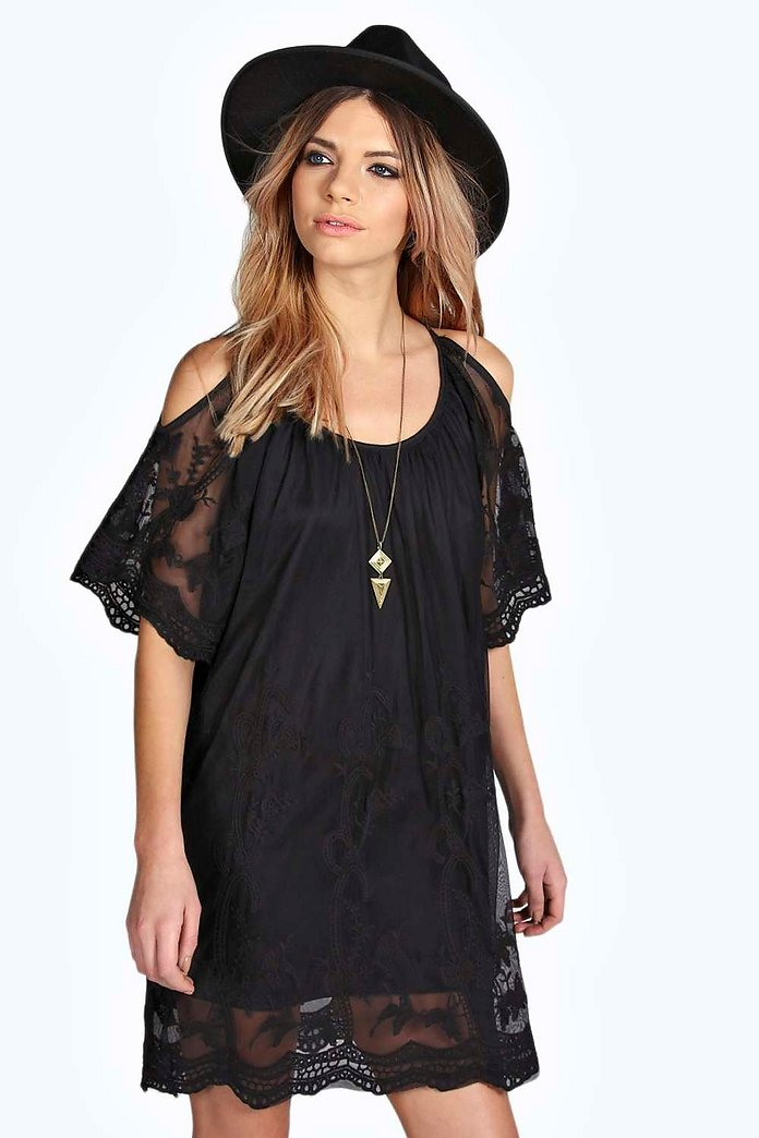 Fiona Open Shoulder Lace Woven Shift Dress