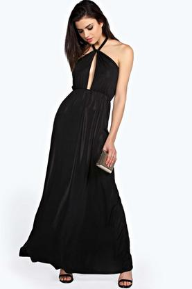 Lavinia Metallic Twist Neck Maxi Dress