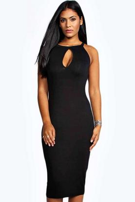 Evelyn Keyhole Detail Midi Dress