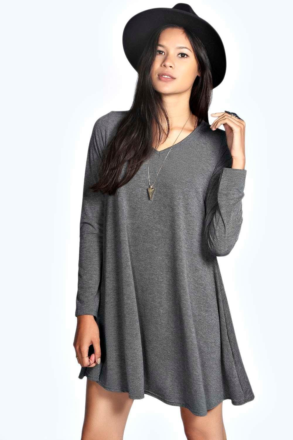May V Neck Long Sleeve Swing Dress