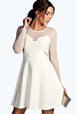 Sophia Dot Mesh Skater Dress