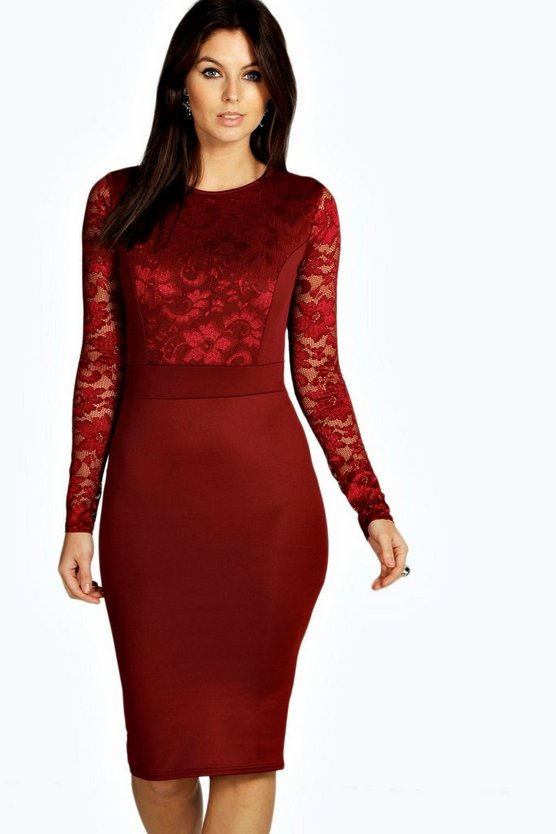 Lace Long Sleeve Bodycon Midi Dress