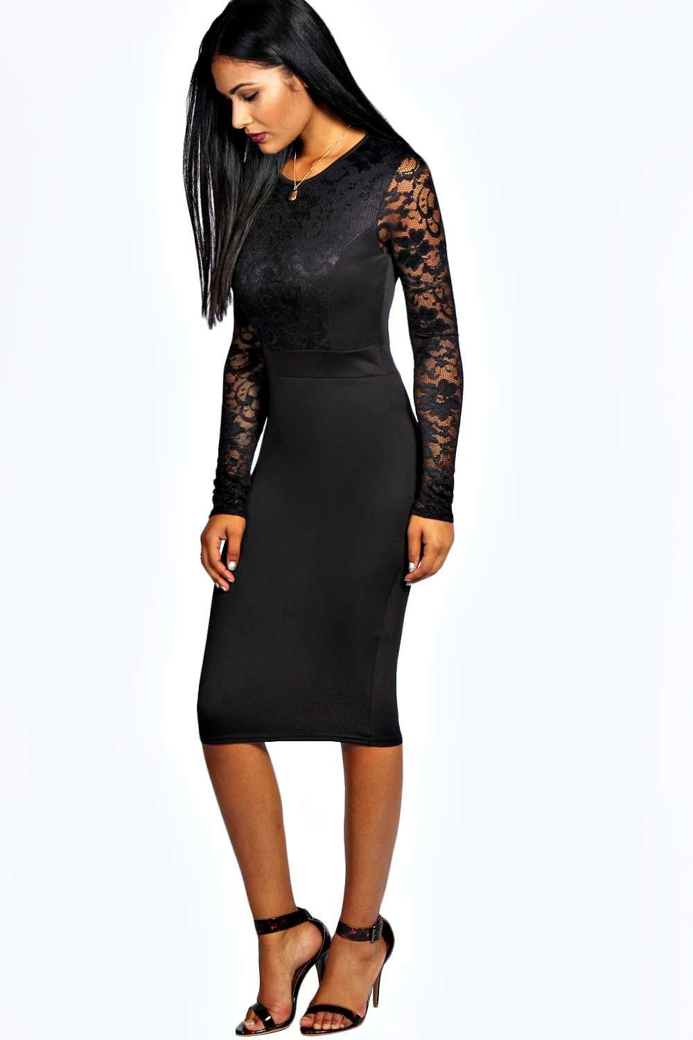 Anna Lace Long Sleeve Bodycon Midi Dress at boohoo.com