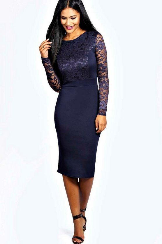Anna Lace Long Sleeve Bodycon Midi Dress