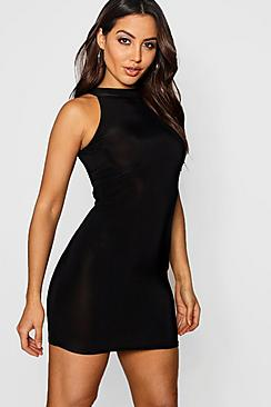 Lisa High Neck Slinky Mini Dress