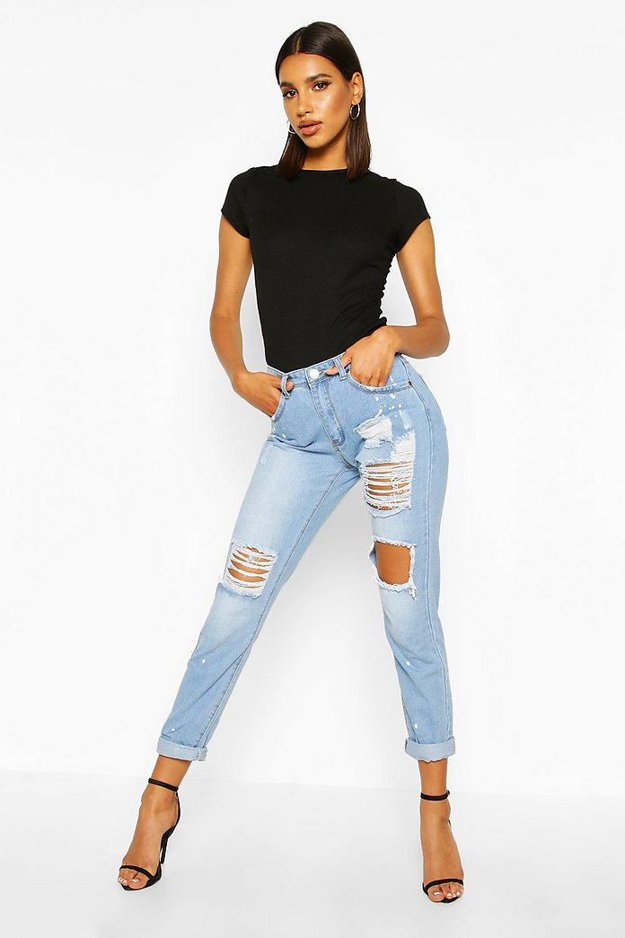 Sara Relaxed Fit Open Knee Boyfriend Jeans