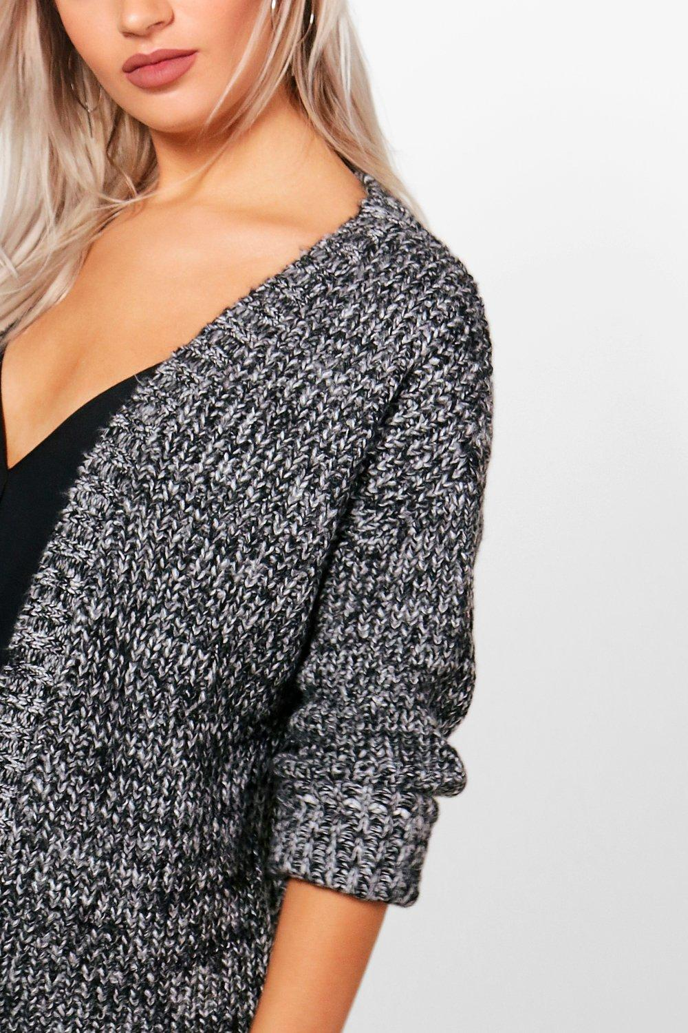 Knitting Pattern For Edge To Edge Cardigan : Isadora Edge To Edge Grungy Marl Knit Cardigan
