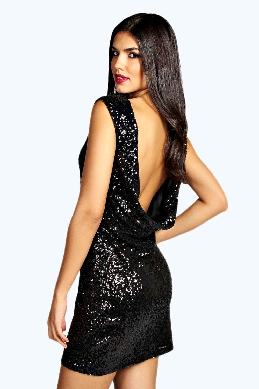 Woven Cowel Back Sequin Mini Dress black