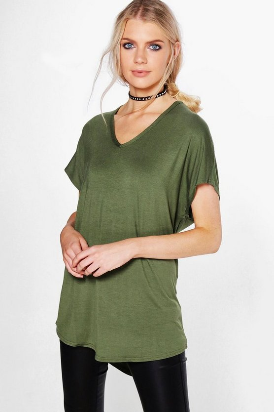 Lily Basic Jersey V Neck Oversized Tee
