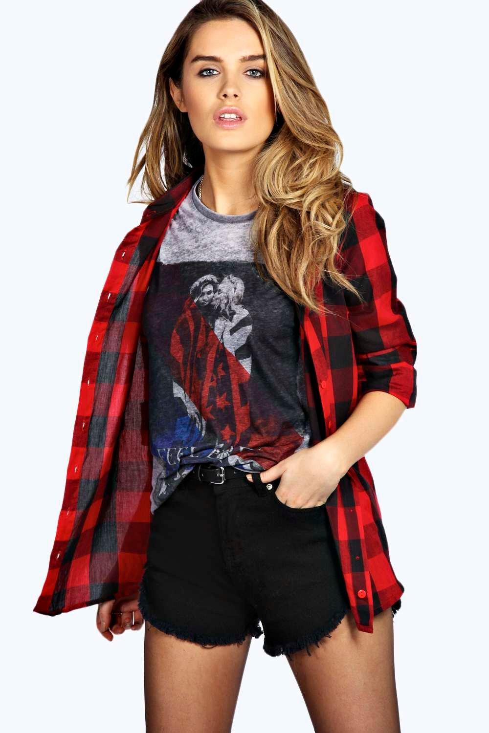 Rose Oversized Checked Shirt