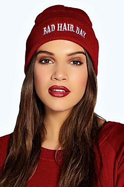 Cara Bad Hair Day Slogan Beanie