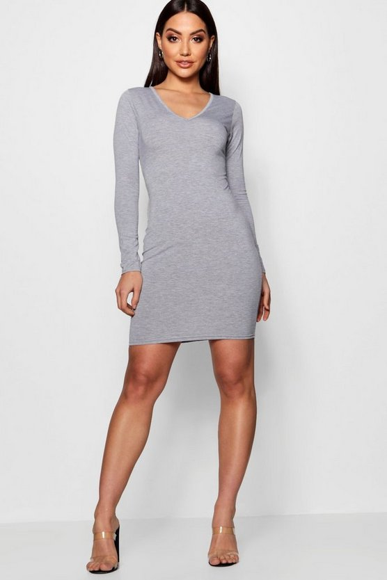 V Neck Long Sleeve Bodycon Dress