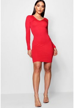 Penny V Neck Long Sleeve Bodycon Dress